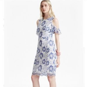 French Connection Antonia lace cold shoulder dress